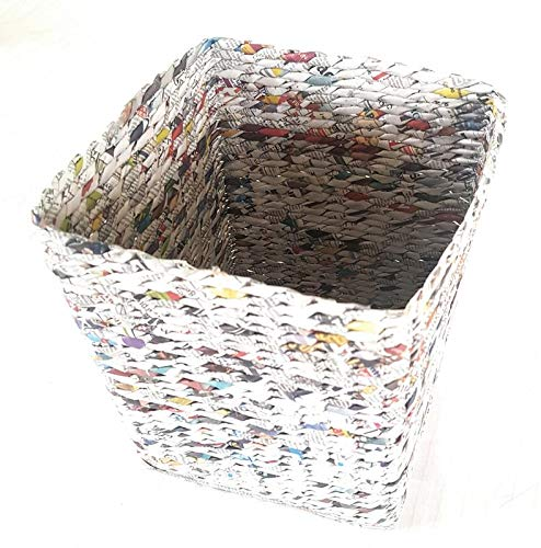 "PAPERUS Squarish Dustbin/Waste Basket Size :: Large,(10 LTR & 11"" Tall) Colour :: Natural (Eco Friendly, Handmade Weaved Out of Paper Ropes)"