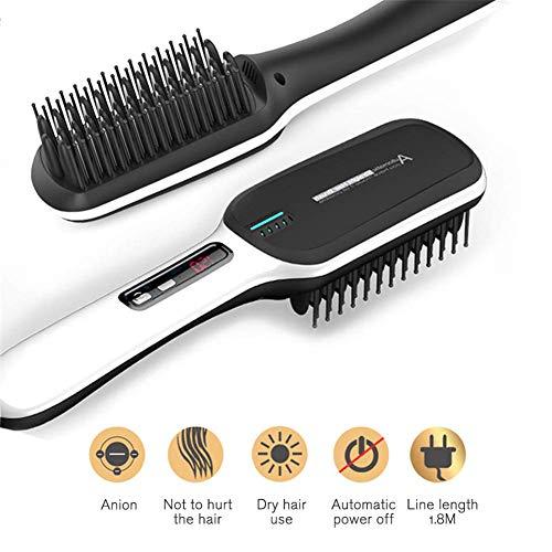 2 in 1 Ionic Hair Straightening Brush, Haar Straightener Pinsel mit Doppel-Negative Ionen Anti-Scand-Schnellheizungstemperatur-Verriegelungs-Funktion Keramik-Heizungstechnologie (Bürsten Keramik-ionen Haare)