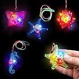 German Trendseller® - 6 x LED colliers┃clignotante┃ flashlight┃mélange de couleurs et forms┃ idée cadeau┃ l'anniversaire d'enfants┃ pochette cadeau