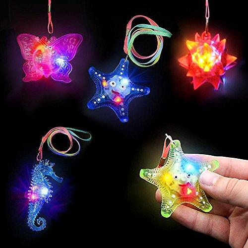 German Trendseller® - 6 x LED Mix Halsketten für Kinder┃ 6 cm ┃ Blinklicht ┃ Kindergeburtstag ┃ Mitgebsel ┃ 6 Stück