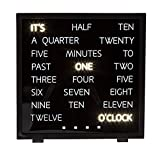 Wort Anzeige Uhr 16,4x17x4,3 cm Schwarz Tischuhr in english LED Wortuhr