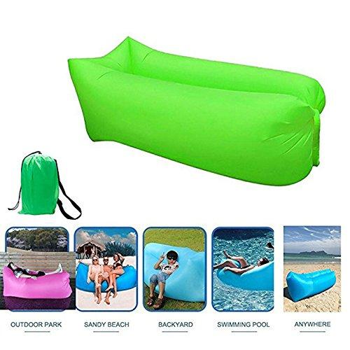 Aufblasbare Liege Tragbare Lazy Air Bett Sofa Lay Schlafsack Hangout Camping Tasche (Color : Grün)
