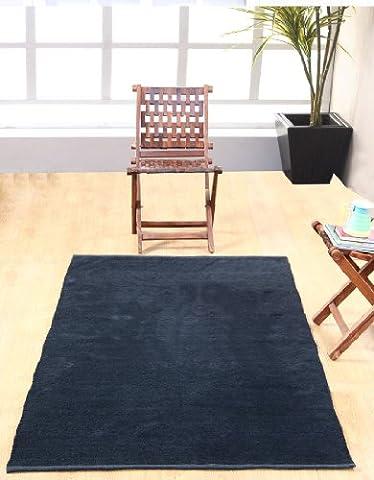 Homescapes waschbarer Chenille Teppich Vorleger 90 x 150 cm aus 100% reiner Baumwolle, Farbe: schwarz, pflegeleicht und