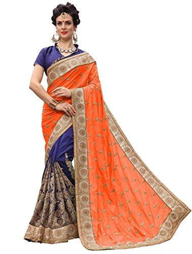 Nivah Fashion K706_P Damen Seide bestickt Saree mit Bluse Gr. One size, Orange Seide Saree