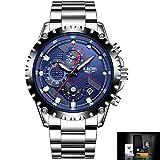 SSQ-CXO Reloj de cuarzo de los hombres Reloj multifuncional Fecha de visualización Banda de acero inoxidable Relojes de pulsera a prueba de agua de negocios , blue