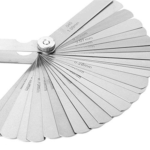 32 Spalte (32 Klingen Set Edelstahl Fühlerlehre Metrisch 0,02-1,0 mm Fugendüse Messwerkzeug Stevlogs)