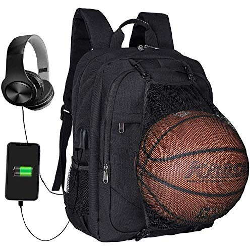 DYR Männer Schwarz Nylon beweglicher Rucksack für 17 Zoll Laptop Breathable Rucksack Schultasche mit Ballnetz, Schwarz