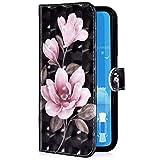 Uposao Kompatibel mit Xiaomi Redmi 6 Handyhülle Luxus 3D Bunt Bling Glitzer Muster Leder Tasche Schutzhülle Brieftasche Handytasche Lederhülle Klapphülle Case Flip Cover,Rosa Blumen