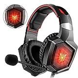 Willnorn K8 Gaming Headset für PS4 PC Xbox One, LED Licht Crystal Clarity Sound Professional LED Kopfhörer mit Mikrofon