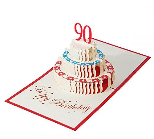 """3D KARTE""""Zum 90. Geburtstag"""" I Pop-Up Karte als Geburtstagskarte I Klappkarte als Geldgeschenk, Glückwunschkarte, Geschenk"""