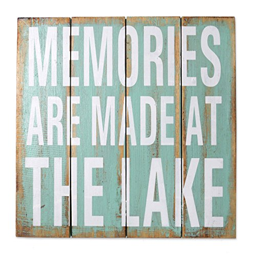 NOVICA Türkis Rustikal Holz Lake House Wandschild, Memories Are Made am See' (Ich Begann Als Kind)