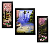 #9: INDIANARA 3 PC SET OF LANDSCAPE PAINTINGS (1109) WITHOUT GLASS 5.2 X 12.5, 9.5 X 12.5, 5.2 X 12.5 INCH