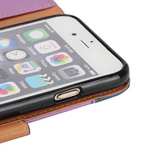 Cover Pelle per iPhone 6S Plus,Fiore Portafoglio Bookstyle Custodia per iPhone 6 Plus,Leeook Creativo Novità Colore Cucito Retrò Goffratura Rosa Fiore Amante Citazione Design Modello Snap-on Cinturino Stitching Color Brown