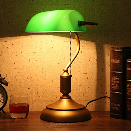 Antike Messing Lampen-tabelle (Best wishes shop tischleuchte- Traditionelle antike Bankers Desk Reading Tischleuchte mit Messing Basis und grünen Glasschirm (Pull-Line-Schalter) E27 Desk Lamp LED)