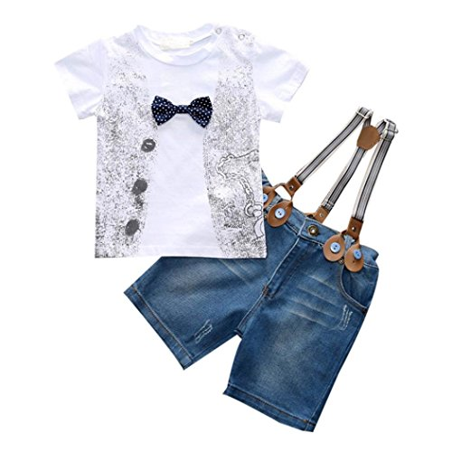 For 2-8 years old boy,Clode® 1Set Kids Toddler Boys Handsome T-shirt+Denim Trousers+Straps Clothes Outfits