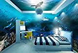Fototapete 3D Wandbilder Sea World Hai Thema Hintergrund Mauer