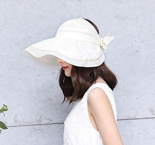 HWTYM Sun Hat Summer Women's Beach Voyage Large Wide Brim Protection UV Outdoor Sun Hat Mode Sun Hat Chaussures de randonnée Sun Hat ( Couleur : Gray-1* ) White-1*