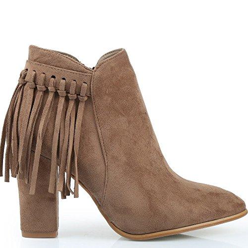 Ideal Shoes - Bottines effet daim avec franges Eleana Beige