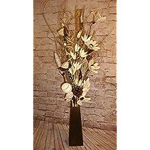 Fiori secchi e artificiali color crema realizzati a mano, raccolti in un bouquet alto 85 cm, con vaso in legno da 26 cm in omaggio, realizzati nel Regno Unito