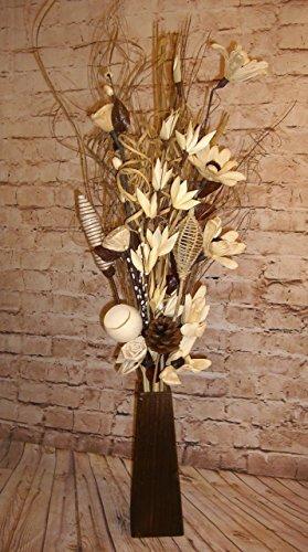 Ramo de flores secas artificiales, de color crema, hechas a mano, de 85 cm de altura, con jarrón de madera de 26 cm incluido