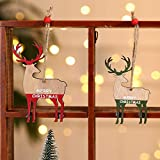 aixingwuzi Delicated Christmas Tree Wood Ornament Elk Hanging Xmas Baubles Party Decoration(None H01)