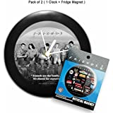 "Mc Sid Razz Official ""Friends - Tv Series"" Pack Of 2, Family Table/Wall Clock+Infographic Fridge Magnet With Bottle Opener,Licensed By Warner Bros,USA"