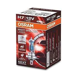 OSRAM NIGHT BREAKER LASER H7 next Generation, +150% mehr Helligkeit, Halogen-Scheinwerferlampe, 64210NL, 12V PKW, Faltschachtel (1 Lampe)