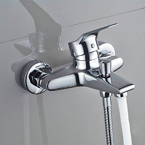 Auralum – Einhandmischer Duscharmatur mit Brausekopf und Brausehalterung, Chrom - 3