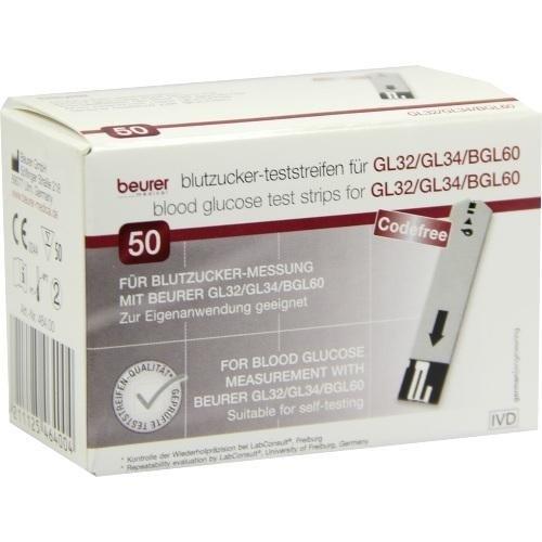Beurer Gl32/gl34/bgl60 Blutzucker-teststreifen 50 stk