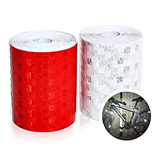 Warning tape, self-adhesive, reflective, Aodoor 2 roll reflective tape, adhesive tape, security warning tape, conspicuity, night reflector tape, 5 cm x 3 m