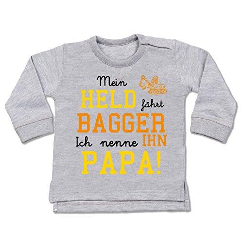 Sprüche Baby - Mein Held fährt Bagger - 18-24 Monate - Grau meliert - BZ31 - Baby Pullover