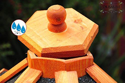 Massiv-Vogelhaus, XXL ca. 70-75 cm, wetterfest Massivdach, mit Silo / Futtersilo für Winterfütterung -Holz Nistkästen & Vogelhäuser- aus Holz mit Silo Holz mit Dach schwarz anthrazit dunkel grau BGX75atOS - 3