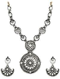 Zaveri Pearls Antique Silver Filigree Necklace Set For Women-ZPFK6302