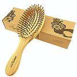 SIGHTLING Cepillo de pelo natural de bambú peine cepillo de cuero cabelludo masaje para el cuidado del cabello Anti-Estático