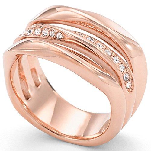 Fossil JF01321 Damen Ring Edelstahl rosé weiß Glas 19,1 mm Größe 60
