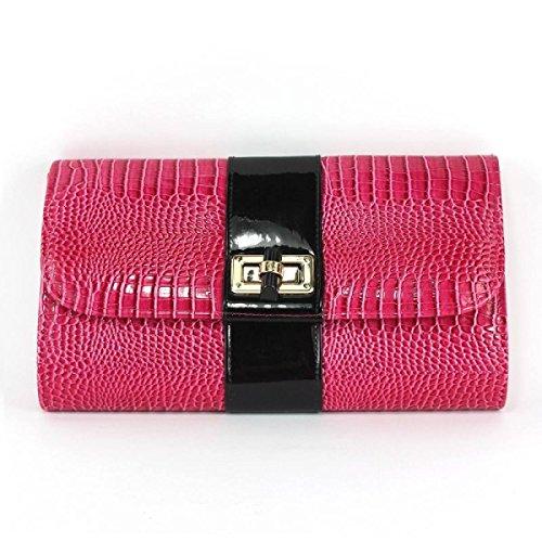 Glossy Schnalle Ladies'handbag Handy Kosmetik Clutch Red