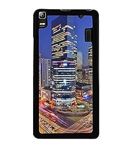 HiFi High Glossy Designer Phone Back Case Cover Lenovo K3 Note :: Lenovo A7000 Turbo ( Colorful City Traffic Life Dream Job Place )