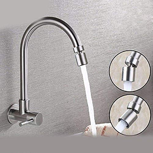 Professional Kitchen Sink Tap 304 Stainless Steel Single Cold in-Wall Style Swivel Spout Copper Basin Mixer Tap Basin Kitchen Faucet -