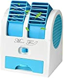 #4: Mini Fan & Portable Dual Bladeless Small Air Conditioner Water Air Cooler Powered by USB & Battery Use of Car/Home/Office (Color May Vary)