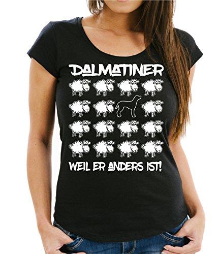 Siviwonder WOMEN T-Shirt BLACK SHEEP - DALMATINER - Hunde Fun Schaf Schwarz