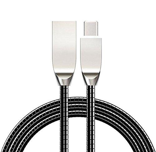 Sweet Tech USB Type-C Kabel zu USB 2.0 (3.3ft) Schwarz Legierungs-Verbindungsstücke Metallfeder Kabel für Yota Devices YotaPhone 3 Smartphone