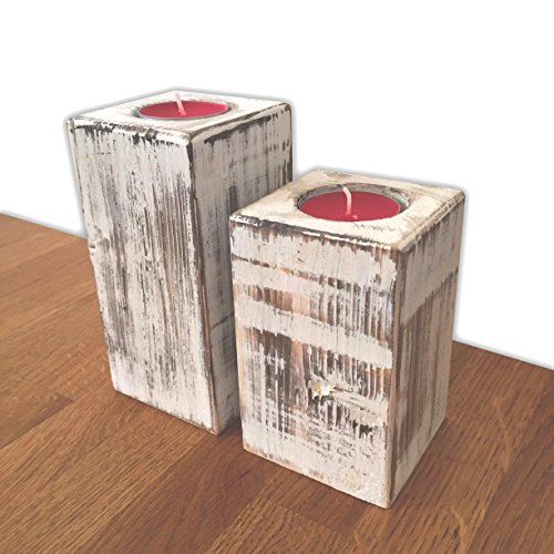 Candles Holder White and Black Shabby Chic Holder with Red Scented Tea Lights (Set of 2)