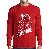 N4525L T-Shirt mit langen Ärmeln Keep Moving (XX-Large Rot Mehrfarben)