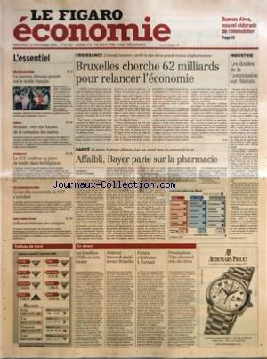 FIGARO ECONOMIE (LE) [No 18433] du 12/11/2003 - BUENOS AIRES, NOUVEL ELDORADO DE L'IMMOBILIER - LA MENACE CHINOISE GRANDIT SUR LE TEXTILE FRANCAIS - RETRAITE - VERS UNE HAUSSE DE LA COTISATION DES CADRES - LA CGT CONFIRME SA PLACE DE LEADER DANS LES HOPITAUX - LES PROFITS SEMESTRIELS DE NTT S'ENVOLENT - INFINEON REDRESSE SES COMPTES - CROISSANCE - BRUXELLES CHERCHE 62 MILLIARDS POUR RELANCER L'ECONOMIE PAR G. Q. - SANTE - AFFAIBLI, BAYER PARIE SUR LA PHARMACIE PAR ERIC DE LA CHESNAIS - LES TROI par Collectif