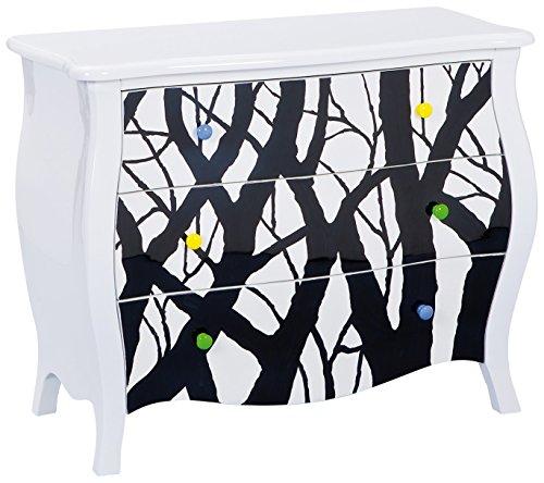 Links 85400218 Alisha Commode MDF , Bois massif Blanc-Noir 95x43,5x77 cm