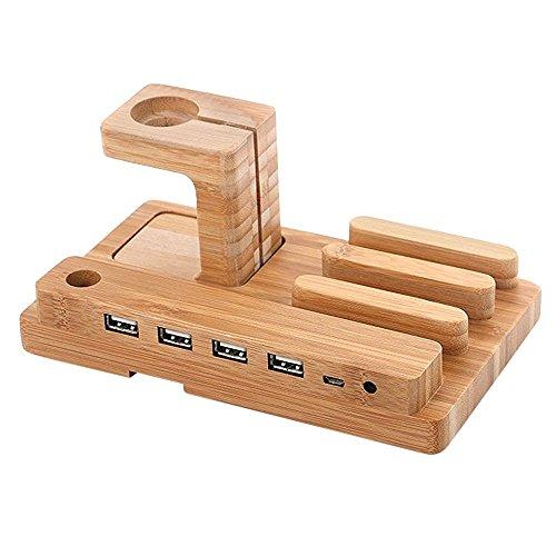 Ipod 4 Ladestation (AIYIBEN Apple Watch Ladestation 100 % Natur aus Holz 4 in einem iPhone iPad iPod Apple Watch 4 Port USB aufladen stehen Station Dock Cradle Plattformhalter)