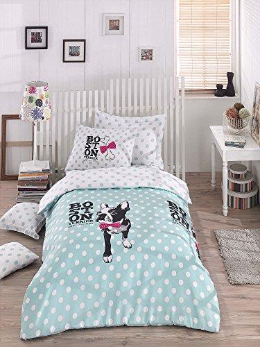 OMASES Luxuriöses Bettwäsche-Set aus Baumwolle, hochwertig, für Einzelbetten, Mops, Chihuahua, Boston Terrier, Cartoon, Knochen, Pink, 155 x 200 cm