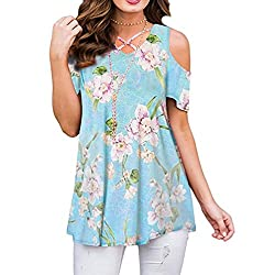 Gillberry Womens Great Blouses Casual Floral Print Cold Shoulder Tunic Tops V Neck Criss Cross T Shirts Blouses X-Large Green