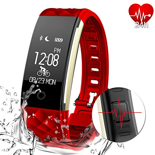 AGPTEK Fitness Tracker Activity Heart Rate Monitor IP67 Waterproof Swimming Smart Wristband with Pedometer Sleep Monitor Step Calorie Call/SMS Reminder for iPhone X/8/8plus/7 Samsung S8/note 8 (Black)