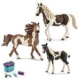 Schleich - Pinto Familie (13794 + 13803 + 13830) + 42366 Pferdepflege